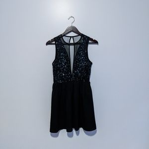 Forever21 Black Mesh & Sequin Mini Dress